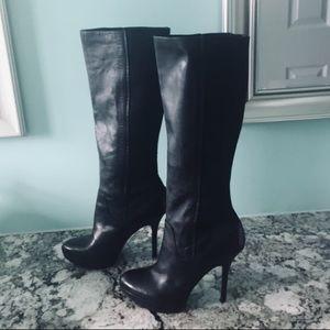 Joan & David Leather stretchy platform boots